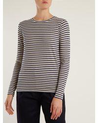 Vince - Blue Striped Silk-blend Long-sleeved T-shirt - Lyst
