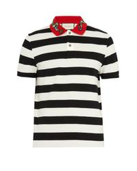 Gucci - Black Snake-appliqué Striped Cotton Polo Shirt for Men - Lyst