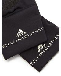 Adidas By Stella McCartney - Black Logo Print Fingerless Training Gloves - Lyst
