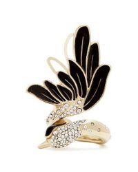 Lanvin - Black Crystal-embellished Swan Ring - Lyst