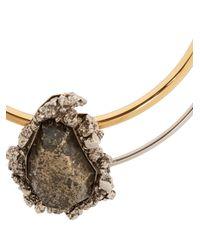 Alexander McQueen - Metallic Pyrite-embellished Double-hoop Choker - Lyst
