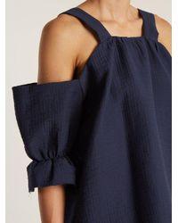 Rachel Comey - Blue Foster Off-the-shoulder Raw-edge Top - Lyst