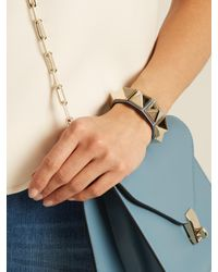 Valentino - Blue Rockstud Large Leather Bracelet - Lyst