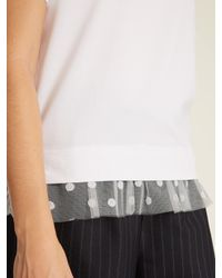 MUVEIL - White Tulle-trimmed Cotton-blend T-shirt - Lyst