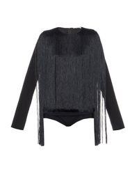 Nina Ricci   Black Fringed Bodysuit   Lyst