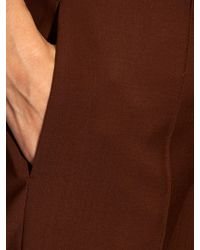 Adam Lippes - Brown High-waisted Stretch Wool-crepe Trousers - Lyst