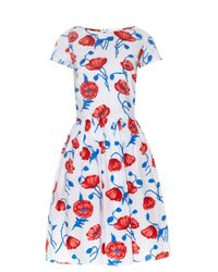 Oscar de la Renta | Red Poppy-print Cotton Dress | Lyst