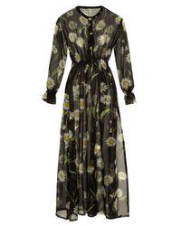 Dolce & Gabbana | Black Daisy-print Silk-chiffon Coverup | Lyst