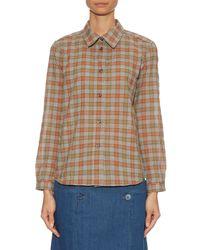 A.P.C. - Orange Checked-print Cotton Shirt - Lyst