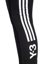 Y-3 - Black Side Striped Jersey Leggings - Lyst