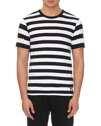 Y-3 - Black Striped Cotton-jersey T-shirt for Men - Lyst