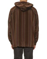 Bottega Veneta - Brown Lightweight Striped Hooded Jacket for Men - Lyst