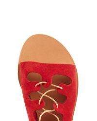 Ancient Greek Sandals - Red Antigone Suede Lace-up Sandals - Lyst