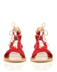 Ancient Greek Sandals - Red Antigone Suede Lace-up Sandals - Lyst
