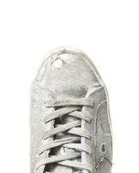 Golden Goose Deluxe Brand - Gray Super Star Distressed Low-top Jersey Trainers - Lyst