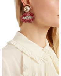 Gucci - Red Crystal-embellished Mouth Earrings - Lyst