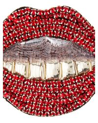 Gucci - Red Crystal-embellished Mouth Brooch - Lyst