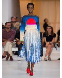 Marco De Vincenzo - Multicolor Sun-print And Fringed-georgette Dress - Lyst