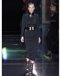 Balmain - Black Tulle-insert Midi Dress - Lyst