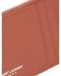 Saint Laurent - Brown Grained-leather Cardholder - Lyst