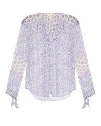 Rebecca Taylor - Purple Floral-print Silk-georgette Blouse - Lyst