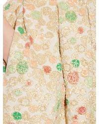 Rochas - Natural Brocade Pleated Midi Skirt - Lyst