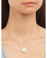 Alison Lou - White Diamond, Enamel & Yellow-gold Daisy Necklace - Lyst
