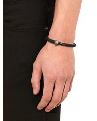 Alexander McQueen - Black Woven-leather And Metal Skull Cuff for Men - Lyst