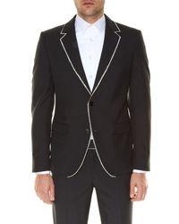 Alexander McQueen - Black Notch-lapel Raw-edge Jacket for Men - Lyst