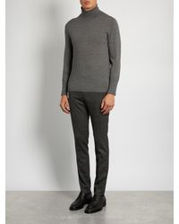 Dolce & Gabbana - Gray Prince Of Wales-checked Wool-blend Trosuers for Men - Lyst