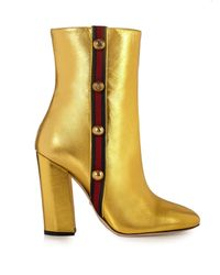Gucci   Yellow Carly Leather Boots   Lyst