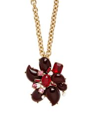 Oscar de la Renta | Multicolor Flower Crystal-embellished Necklace And Brooch | Lyst