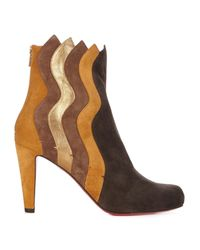 Christian Louboutin | Multicolor Wavy 100mm Panelled Suede Ankle Boots | Lyst