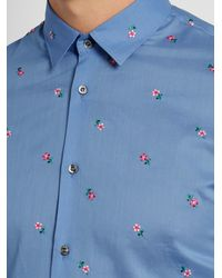 Gucci - Blue Flower-embroidered Cotton Shirt for Men - Lyst