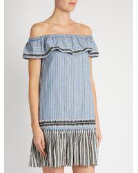 lemlem - Blue Amara Off-the-shoulder Striped Dress - Lyst