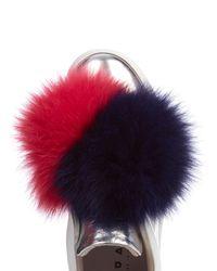 Joshua Sanders - Multicolor Fur Pom-Pom Leather Low-Top Sneakers - Lyst