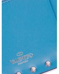 Valentino - Blue Rockstud Zip-top Leather Cardholder - Lyst