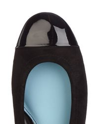 Lanvin - Black Suede And Patent-leather Ballet Flats - Lyst