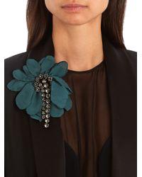 Lanvin | Green Floral-embellished Brooch | Lyst