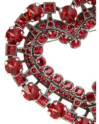 Lanvin - Red Heart Crystal-embellished Brooch - Lyst