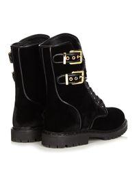 Balmain - Black Eagle Velvet Mid-Calf Boots - Lyst