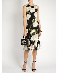 Dolce & Gabbana - Black Tulip-print Stretch-silk Charmeuse Dress - Lyst