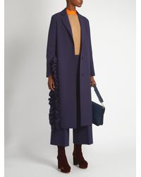 MSGM - Blue Ruffled Single-Breasted Crepe Trench Coat - Lyst