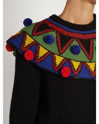 Stella Jean - Black Pompom-Embellished Wool and Cashmere-blend Sweater - Lyst