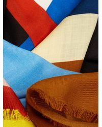 Givenchy - Brown Flag-print Wool And Silk-blend Scarf - Lyst