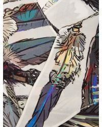 Rockins - Multicolor Roses Ivory Printed Silk Scarf - Lyst