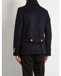 Balmain | Blue Double-breasted Wool Pea Coat for Men | Lyst