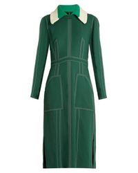 Burberry Prorsum | Green Detachable-collar Crepe Dress | Lyst