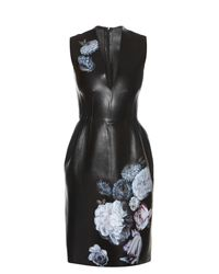Alexander McQueen | Multicolor Hand-painted Flowers Leather Dress | Lyst