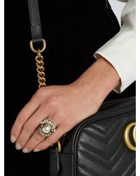 Gucci - Multicolor Pearl-effect Embellished Flower Ring - Lyst
